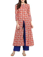 Red cotton A-line kurta bottom set -  online shopping for Sets