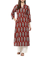 Brown cotton striaght kurta bottom set -  online shopping for Sets