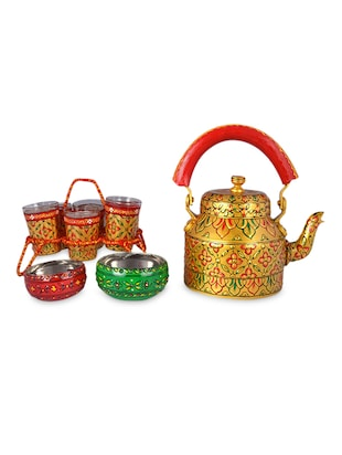Multicoloured Painted Tea Set with Chikha
