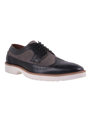 Genuine Leather Black Brogues -  online shopping for Shoes