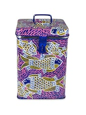 Royal Blue And Pink Painted Canister - By