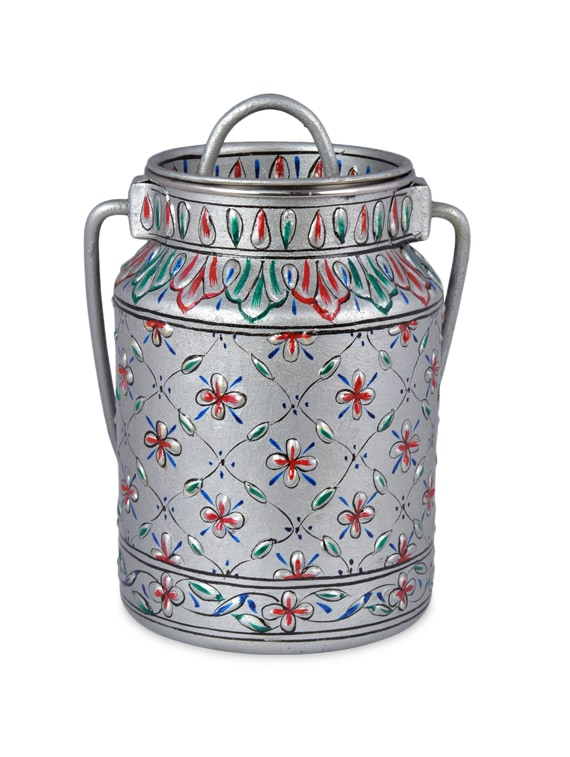 Blue Stainless Steel Hand Painted Canister - By