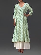 Printed Green Cotton Anarkali Kurta - By