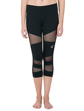black polyester sports capris -  online shopping for Capris