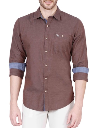 brown cotton casual shirt -  online shopping for casual shirts