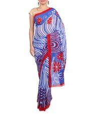 Blue Printed Art Silk Saree - By
