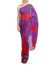 Purple Printed Art Silk Saree - By