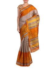 Yellow Bhagalpuri Silk Printed Saree - By