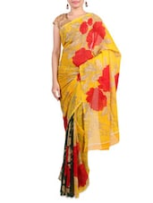 Yellow Faux Georgette Printed Saree - By