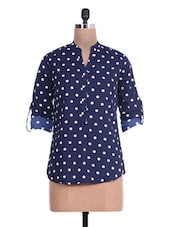 Navy Blue Polka-dotted Polyester Shirt - By