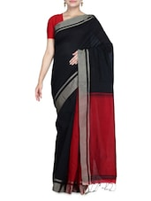 Red And Black Cotton Silk Sari - By