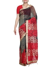 Black And Red Cotton Silk Sari - By