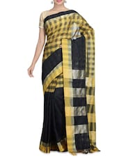 Black And Yellow Cotton Silk Printed Sari - By
