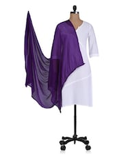 Purple Plain Faux Chiffon Dupatta - By