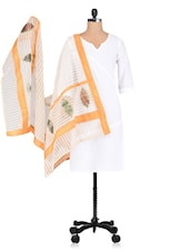 Beige And Yellow Plain Patchwork Chanderi Dupatta - By