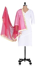 Pink Plain Zari Net Dupatta - By