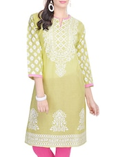 yellow cotton straight kurti -  online shopping for kurtis