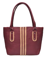 Maroon Leatherette Handbag With Beige Panels - By