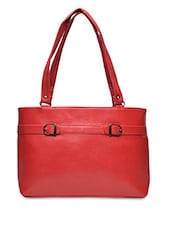 Solid Red Leatherette Handbag - By