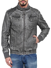 grey leather biker jacket -  online shopping for Biker Jacket