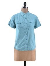 Sea Green Cotton Shirt - By