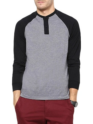 grey and black colour block cotton t-shirt -  online shopping for T-Shirts