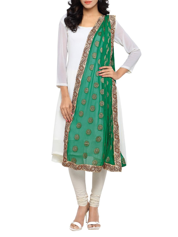 Green Chiffon Banarasi Dupatta - By