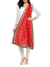 Red Chiffon Banarasi Dupatta - By