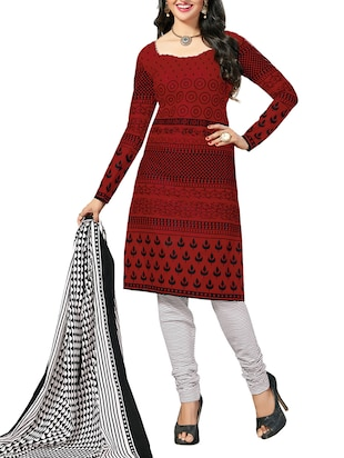 red salwar unstitched suit