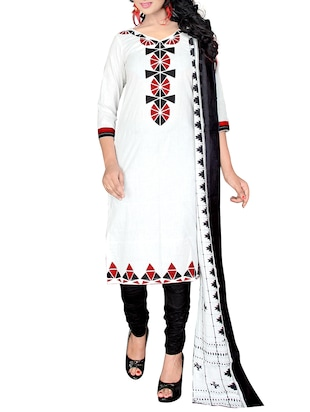 white salwar unstitched suit