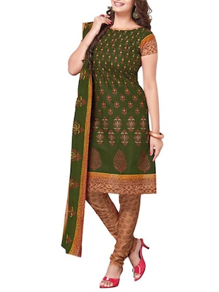 green salwar unstitched suit