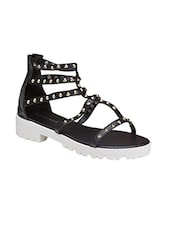 black leatherette(pu gladiators sandals -  online shopping for sandals