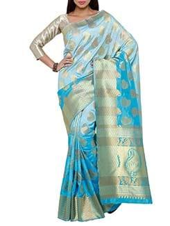 turquoise art silk kanjivaram saree  available at Limeroad for Rs.3500