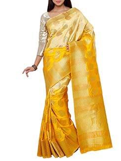 yellow art silk kanjivaram saree  available at Limeroad for Rs.3500