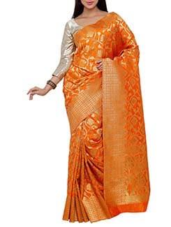 orange art silk kanjivaram saree  available at Limeroad for Rs.3500