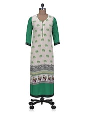 White Printed Rayon Long Kurta - By
