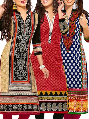 Multi colored cotton printed unstitched kurtas (Set of 3)