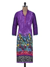 Purple Rayon Printed  Kurti - By