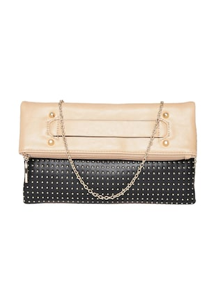 Beige & black leatherette studded clutch