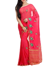 pink poly chiffon  saree -  online shopping for Sarees