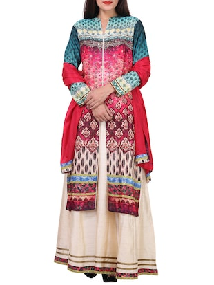 multi colored polyester printed sharara suit