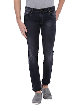 black denim washed jeans