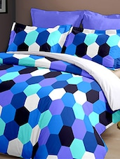 Dreamscape 140TC 100% Cotton Blue Geometric Double bedsheet set -  online shopping for bed sheet sets