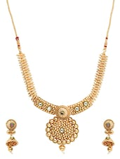 Gold Metallic Embellished Necklace - By