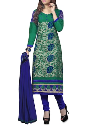 Embroidered Green Unstitched Suit Set