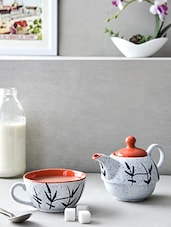 Orange Ceramic Set Of 1 Cup And Kettle - By