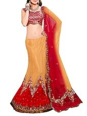 Pale Orange And Red Net Unstitched Lehenga Choli Set - By