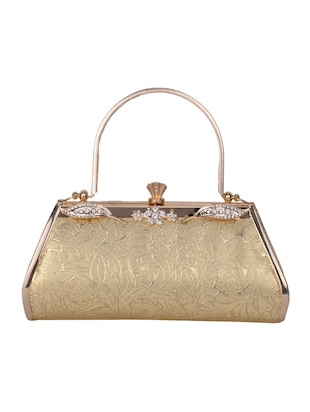 gold leatherette clutch -  online shopping for clutches