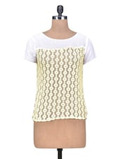 White And Yellow Round Neck Top - By