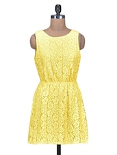Solid Yellow Cotton Lace Dress - By